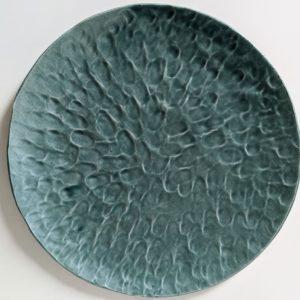 Assiette plate couleur peacock